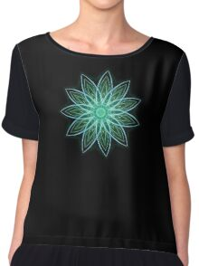 Fractal Flower - Green . Chiffon Top
