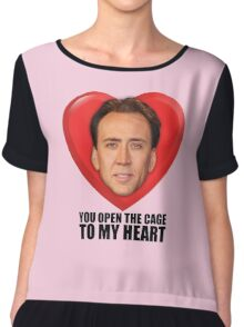 Nicolas Cage - You Open the Cage to My Heart Chiffon Top