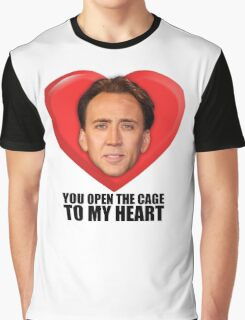 Nicolas Cage - You Open the Cage to My Heart Graphic T-Shirt