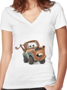 Tow Mater Cars Women's Fitted V-Neck T-Shirt