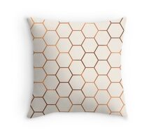 Rose gold copper honeycomb Throw Pillow