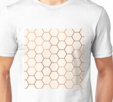 Rose gold copper honeycomb Unisex T-Shirt