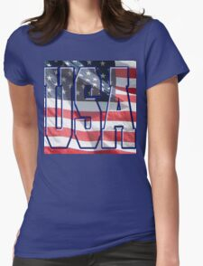 USA & American Flag Womens Fitted T-Shirt