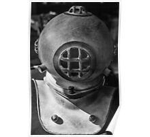 black and white photograph of an old divers helmet Poster