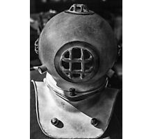 black and white photograph of an old divers helmet Photographic Print