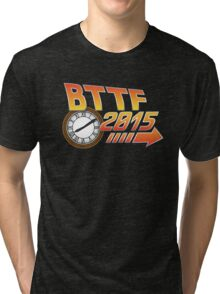 Back to the Future 2015 Logo with Clock Tri-blend T-Shirt