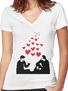 Cherik in the Field with Hearts Women's Fitted V-Neck T-Shirt