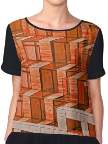 Abstract Architecture in Red Chiffon Top