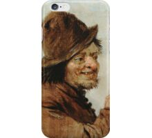 Teniers, David The Younger - A Peasant Holding A Glass. Man portrait: strong man, boy, male, beard, business suite, masculine, boyfriend, smile, manly, sexy men, mustache iPhone Case/Skin