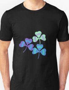 Blue Themed Three Clovers Unisex T-Shirt