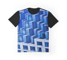 Abstract Architecture in Blue Graphic T-Shirt