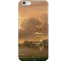 Thomas Chambers - Threatening Sky, Bay Of New York. Sea landscape: sea view,  yachts,  holiday, sailing boat, coast seaside, waves and beach, marin, seascape, sun clouds, nautical, ocean iPhone Case/Skin