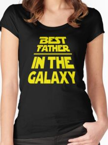 Best Father in the Galaxy - Title Crawl Women's Fitted Scoop T-Shirt