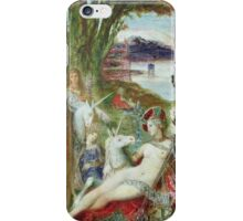 Gustave Moreau - The Unicorns. Fairy painting: sensual woman, unicorn,  fantasy ,  myth,  nudity,  nude,  equestrian,  equine,  art ,  horse,  horseback iPhone Case/Skin