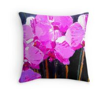 Rose Pink Orchids Throw Pillow