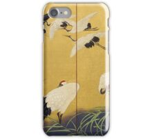 Suzuki Kiitsu - Reeds And Cranes. Forest view: forest , trees,  fauna, nature, birds, animals, flora, flowers, plants, field, weekend iPhone Case/Skin