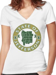 State of Jefferson (outline) Women's Fitted V-Neck T-Shirt