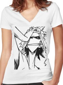 All Might-Boku no Hero Academia Women's Fitted V-Neck T-Shirt