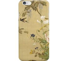 Suzuki Kiitsu - Birds And Flowers. Forest view: forest , trees,  fauna, nature, birds, animals, flora, flowers, plants, field, weekend iPhone Case/Skin