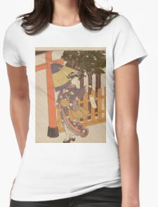 Suzuki Harunobu - Woman Visiting The Shrine In The Night. Woman portrait:  geisha ,  women,  courtesan,  fashion,  costume,  kimono,  hairstyle,  headdress,  parasol,  mirror,  maid Womens Fitted T-Shirt