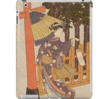 Suzuki Harunobu - Woman Visiting The Shrine In The Night. Woman portrait:  geisha ,  women,  courtesan,  fashion,  costume,  kimono,  hairstyle,  headdress,  parasol,  mirror,  maid iPad Case/Skin