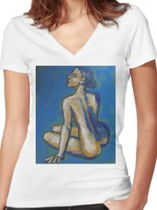 Soothing - Female Nude Women's Fitted V-Neck T-Shirt