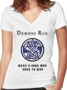 SuperWHO - Demons Run Women's Fitted V-Neck T-Shirt