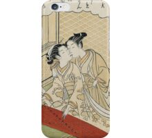 Suzuki Harunobu - Geese Descending On The Koto Bridges . Woman portrait:  geisha ,  women,  courtesan,  fashion,  costume,  kimono,  hairstyle,  headdress,  parasol,  mirror,  maid iPhone Case/Skin