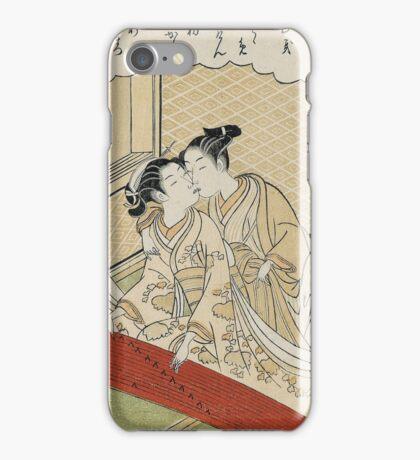Suzuki Harunobu - Geese Descending On The Koto Bridges . Woman portrait:  geisha ,  women,  courtesan,  fashion,  costume,  kimono,  hairstyle,  headdress,  parasol,  mirror,  maid iPhone Case/Skin