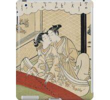 Suzuki Harunobu - Geese Descending On The Koto Bridges . Woman portrait:  geisha ,  women,  courtesan,  fashion,  costume,  kimono,  hairstyle,  headdress,  parasol,  mirror,  maid iPad Case/Skin