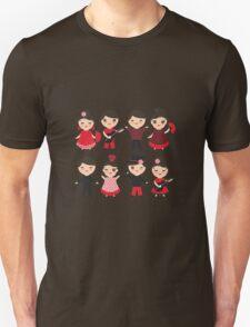 Happy flamencas on green Unisex T-Shirt