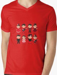 Happy flamencas on green Mens V-Neck T-Shirt