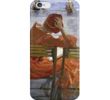 Sir John Lavery - Girl In A Red Dress, Seated By A Swimming Pool. Woman portrait: woman, Girl , reading,  women, hat, beautiful ,  Red Dress,  Swimming , Pool, expectation, dream iPhone Case/Skin