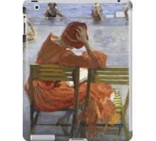Sir John Lavery - Girl In A Red Dress, Seated By A Swimming Pool. Woman portrait: woman, Girl , reading,  women, hat, beautiful ,  Red Dress,  Swimming , Pool, expectation, dream iPad Case/Skin