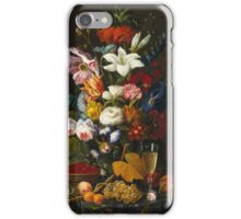 Severin Roesen - Victorian Bouquet 1850. Still life with flowers: bouquet, flowers, bumblebee , carnations, peonies, roses, tulips, marigolds, life, garden, blossom iPhone Case/Skin