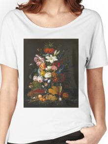 Severin Roesen - Victorian Bouquet 1850. Still life with flowers: bouquet, flowers, bumblebee , carnations, peonies, roses, tulips, marigolds, life, garden, blossom Women's Relaxed Fit T-Shirt