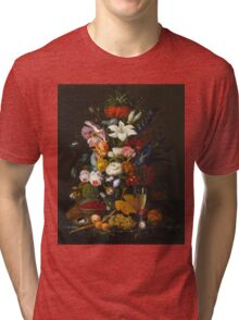 Severin Roesen - Victorian Bouquet 1850. Still life with flowers: bouquet, flowers, bumblebee , carnations, peonies, roses, tulips, marigolds, life, garden, blossom Tri-blend T-Shirt