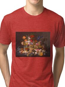 Severin Roesen - Still Life 1852. Still life with flowers: bouquet, flowers, bumblebee , carnations, peonies, roses, tulips, marigolds, life, garden, blossom Tri-blend T-Shirt