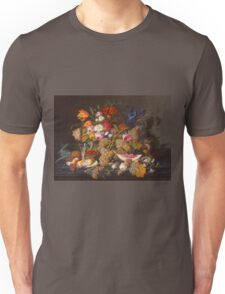 Severin Roesen - Still Life 1852. Still life with flowers: bouquet, flowers, bumblebee , carnations, peonies, roses, tulips, marigolds, life, garden, blossom Unisex T-Shirt