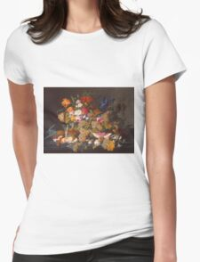Severin Roesen - Still Life 1852. Still life with flowers: bouquet, flowers, bumblebee , carnations, peonies, roses, tulips, marigolds, life, garden, blossom Womens Fitted T-Shirt