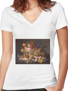 Severin Roesen - Still Life With Fruit 1850. Still life with fruits and vegetables: strawberries , champagne,, lemon , grapes , cherries, peaches, apples, pears, apricots, raspberries, vase Women's Fitted V-Neck T-Shirt