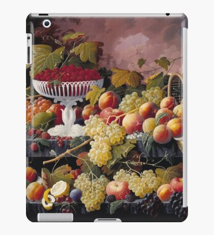 Severin Roesen - Fruit Still Life In A Landscape 1862. Still life with fruits and vegetables: strawberries , champagne,, lemon , grapes , cherries, peaches, apples, pears, apricots, raspberries, vase iPad Case/Skin