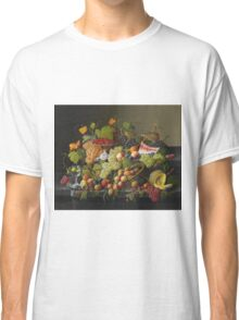 Severin Roesen - Abundant Fruit 1858. Still life with fruits and vegetables: strawberries , champagne,, lemon , grapes , cherries, peaches, apples, pears, apricots, raspberries, vase Classic T-Shirt