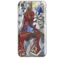 Robert Delaunay - Red Eiffel Tower (La Tour Rouge). Abstract painting: Eiffel, Tower , Tour , composition, lines, forms, creative fusion, music, kaleidoscope, illusion, fantasy future iPhone Case/Skin
