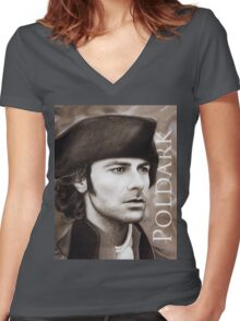 Aidan Turner - Ross Poldark - Pastel Portrait 2 Women's Fitted V-Neck T-Shirt
