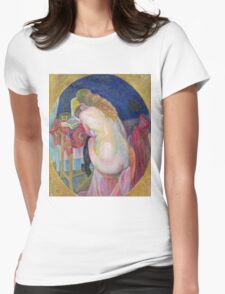 Robert Delaunay - Nude Woman Reading. Abstract painting: abstraction, geometric, Nude Woman, Reading, lines, forms, creative fusion, music, kaleidoscope, illusion, fantasy future Womens Fitted T-Shirt