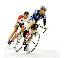 Cyclists into the Last Curve - Color Version Photographic Print