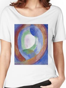 Robert Delaunay -  Forms Circular. Abstract painting: abstraction, geometric, expressionism, composition, lines, forms, creative fusion, music, kaleidoscope, illusion, fantasy future Women's Relaxed Fit T-Shirt