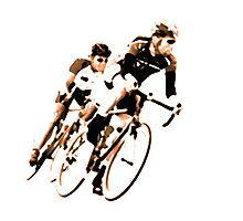 Cyclists into the Curve - High Contrast Sepia Photographic Print