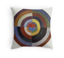 Robert Delaunay - First Disc. Abstract painting: abstraction, geometric, expressionism, composition, lines, forms, creative fusion, music, kaleidoscope, illusion, fantasy future Throw Pillow
